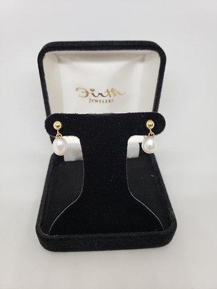 Drop Pearl Earrings 14Kt Yellow Gold