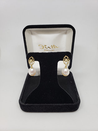Drop Pearl Earrings, 14Kt Yellow Gold Diamond Mountings