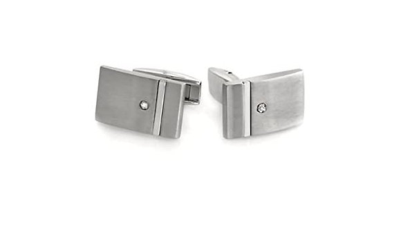 Stainless steel Cuff Links with Diamond
