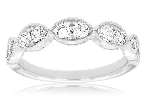 White Gold Ring with Round Diamonds in a Marquise Shape