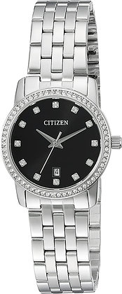 Citizen Woman's Black Quartz Watch With Crystal and Date