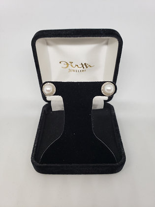 Pearl Earrings with a Diamond Halo