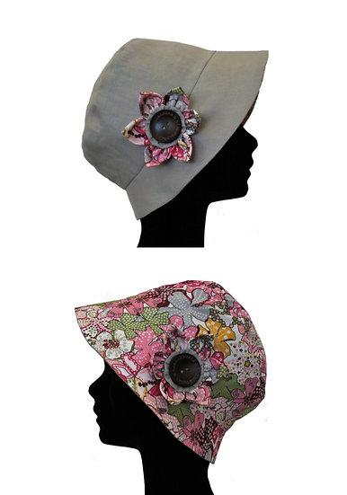 Chapeau réversible modèle Vintage liberty rose