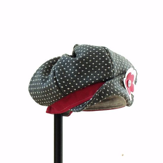 Chapeau doublé type béret asymétrique
