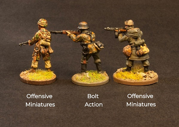 Size Comparion of Offensive miniatures & bolt action miniature figures