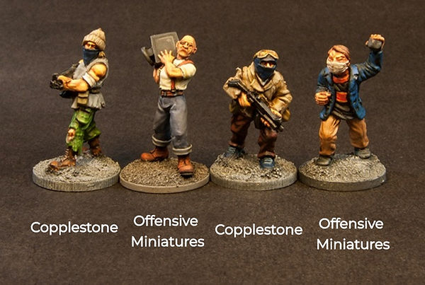 Size Comparion of Offensive miniatures & copplestone miniature figures