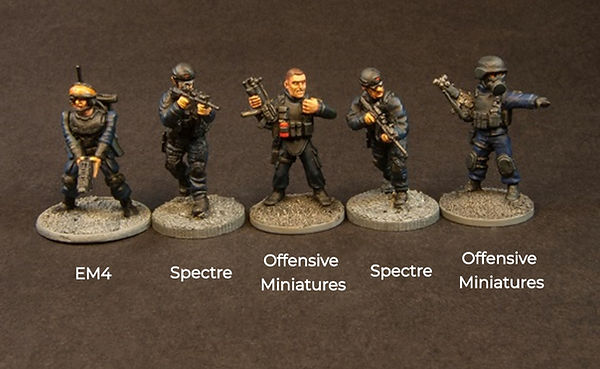 Size comparison of offensive mniatures' near future modern miniatures compared to EM4 & Spectre