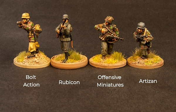 Size comparion of Offensive Miniatures WW2 figures along side competitors