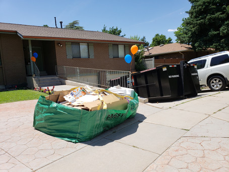 Skip the dinky bags and just rent a dumpster!