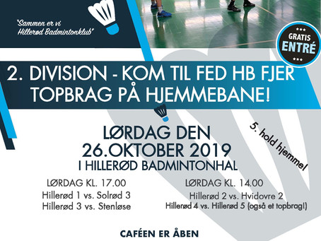 Kom til TOPBRAG i Hillerød Badmintonklub den 26/10