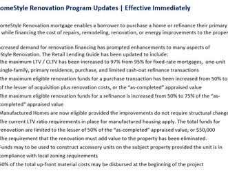 HomeStyle Renovation Loans, Major Improvements!