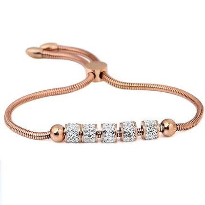 Rosé gouden armband met zirconia beads