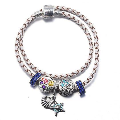 Wit lederen armband met beads - Sea