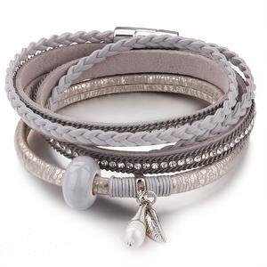 Trendy Boho armband van grijs leder & kristallen