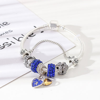 Trendy armband met blauwe beads - Little Heart