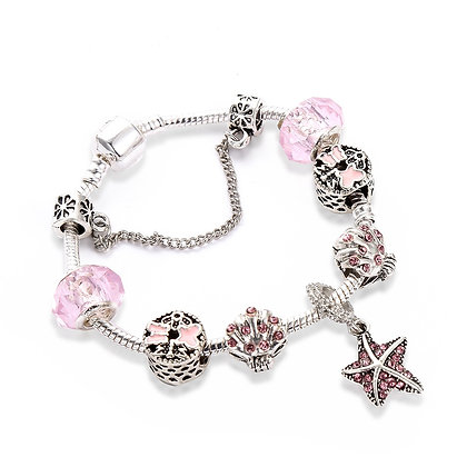 Trendy armband met rose beads - Zeester