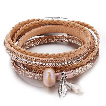 Trendy Boho armband van rose leder & kristallen