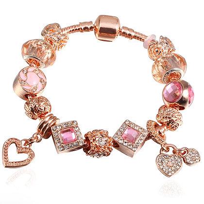 Trendy armband met rosé gouden beads