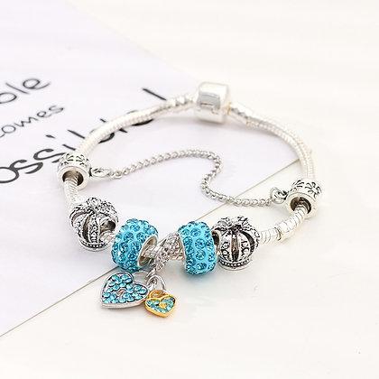 Trendy armband met aqua beads - Little Heart