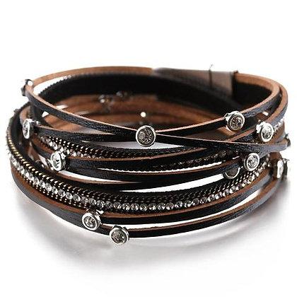Boho armband van zwart leder & kristallen