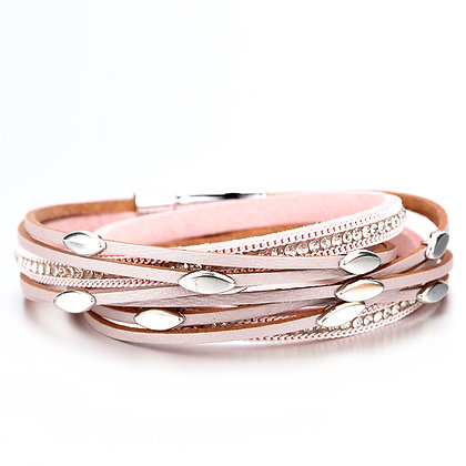 Boho armband met zilverkleurige beads