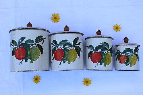 Set of 4 Hand Painted Tins