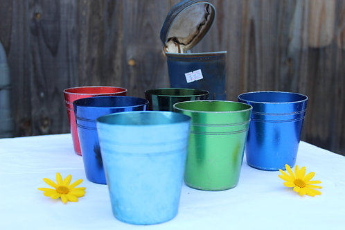 Vintage Anodized cups in case