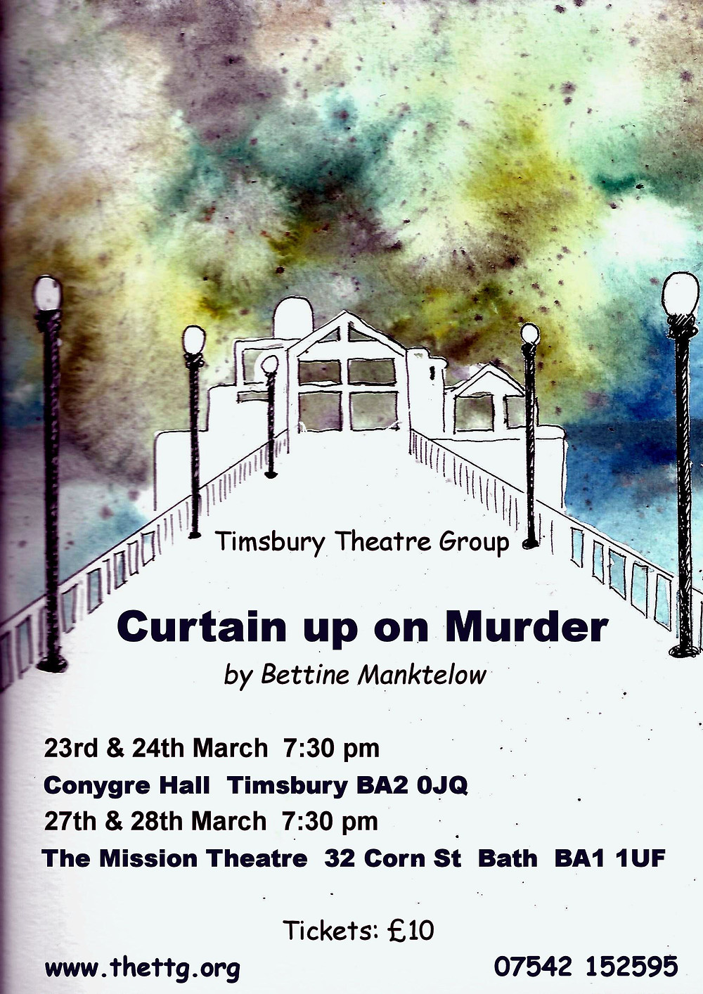 Rehearsals for our next production Curtain up on murder are well underway, again this year we are lucky enough to be taking this fabulous play to The Mission Theatre as we did with Agatha Crustie. Our Box office is now open, you can purchase tickets for bothe The Conygre Hall and The Mission Theatre online or through our box office mobile as on the poster below.