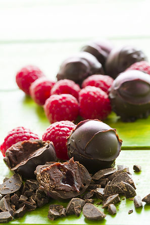 Gourmet raspberry truffles hand made by