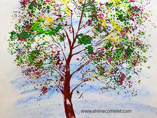 Peindre un arbre facilement avec une feuille de chou