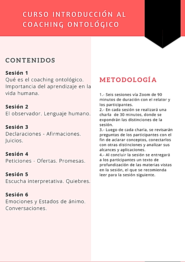 Curso Introducción al coaching ontológic