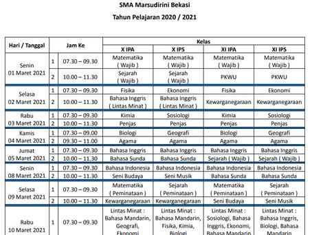 Jadwal Penilaian Tengah Semester II SMA Marsudirini Bekasi
