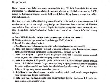 Pemberitahuan Kegiatan Kemasyarakatan Siswa Siswi Marsudirini ( KKSM ) SMA Marsudirini Bekasi