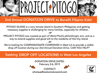 Seeking Drop Off Locations for Donation Drive!