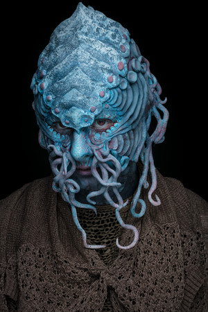 Alien features made from Claytastic Super Light Clay over a bald cap and coloured with aqua colours.  MUA: Sonja Howard Model: Sarah Bucton Photographer: Matt Leasegang