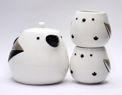 小鳥發呆茶壺連兩名呆萌小小鳥杯
