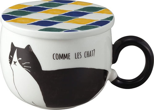 馬賽克風格貓咪杯連貓咪尾巴杯耳(黑貓)