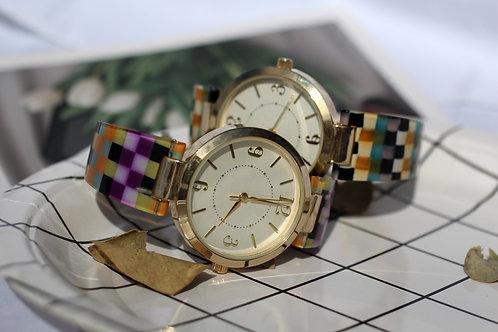彩格紋女裝腕錶