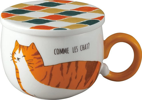 馬賽克風格貓咪杯連貓咪尾巴杯耳(虎紋貓)