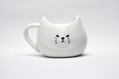 調皮白貓咪水杯