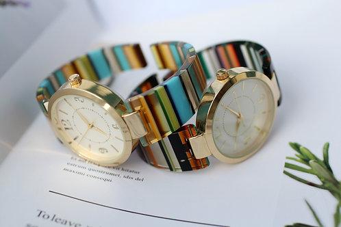 彩條紋女裝腕錶