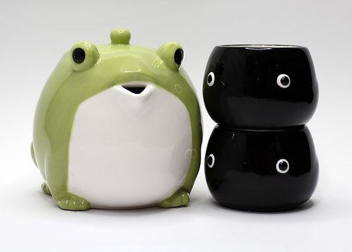 呆萌青蛙王子茶壺連兩名傻瓜蝌蚪水杯