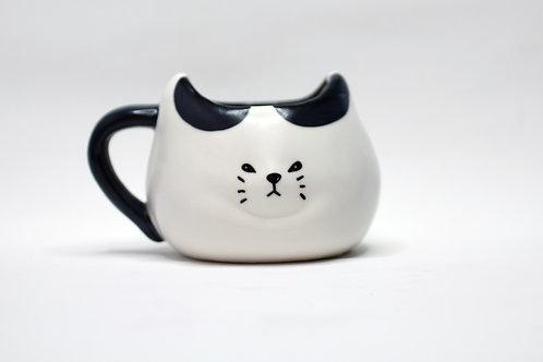 調皮黑白貓咪水杯