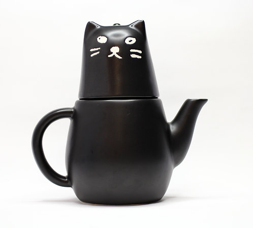 黑貓咪頭杯配茶壺身