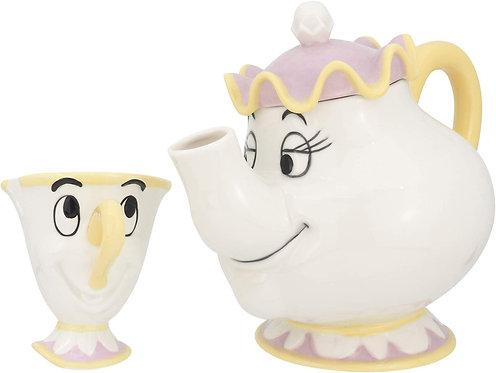 迪士尼美女與野獸茶壺太太與茶杯阿齊茶壺套裝