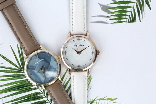 拼合雲石紋女裝腕錶