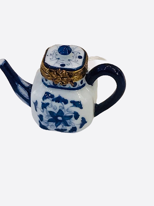 Blue And White Teapot With Teabag Limoges Box