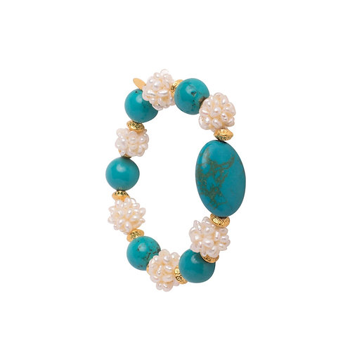 Turquoise and Fresh Water Pearl Stretch Bracelet