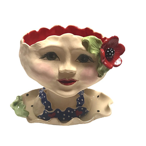 Red Flower with Blue Polka Dots Planter