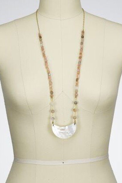Crescent Shaped Blister Pearl Necklace